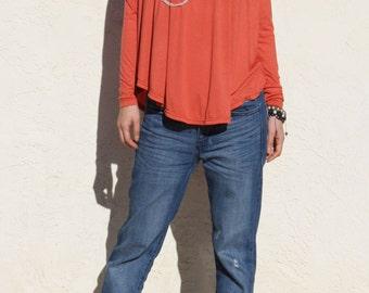 Orange Swing Top with Long Sleeve, Loose Top, Curved Hem Top, Oversized Top, Flare Tshirt, Orange Tshirt -Burnt Orange
