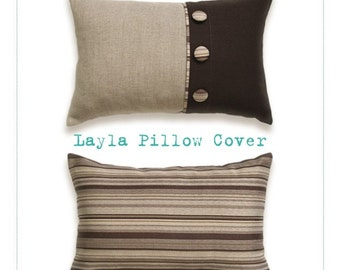 PDF Sewing Pattern to make Double-sided Pillow With Buttons LAYLA easy sewing tutorial