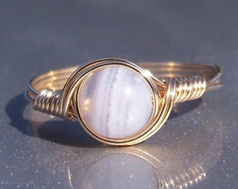 Blue Lace Agate Ring, Custom Sized Ring, 14k Gold Filled Ring, Wire Wrapped Ring