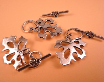 Silver Toggle Clasp Leaf Clasp Silver Findings Silver Clasp Silver Leaf Clasp Silver Leaves Silver Beads Metal Beads Leaf Beads