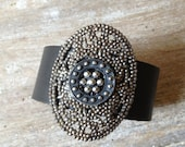 Antique Cut Steel and Leather Cuff