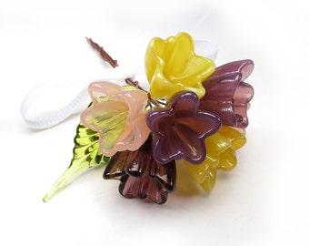 Tiny tulip bouquet glass flowers suncatcher, Plum purple, Sunshine yellow, peach