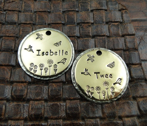 Eve Custom Dog ID Tag, Pet ID Tag, Personalized Dog ID Tag, Tag for Pet Collars,flowers