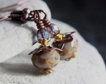 Beige/Purple Czech Glass Bead Earrings - A.1560