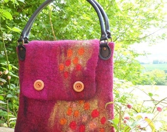 Felted Hand Bag - Raspberry and Magenta - Wildflower Meadow