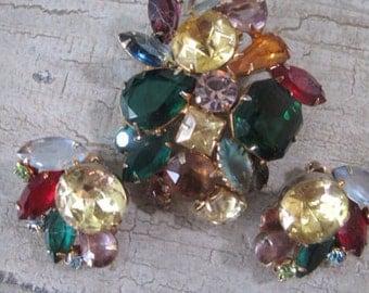 Vintage Fruit Salad Brooch and Earrings