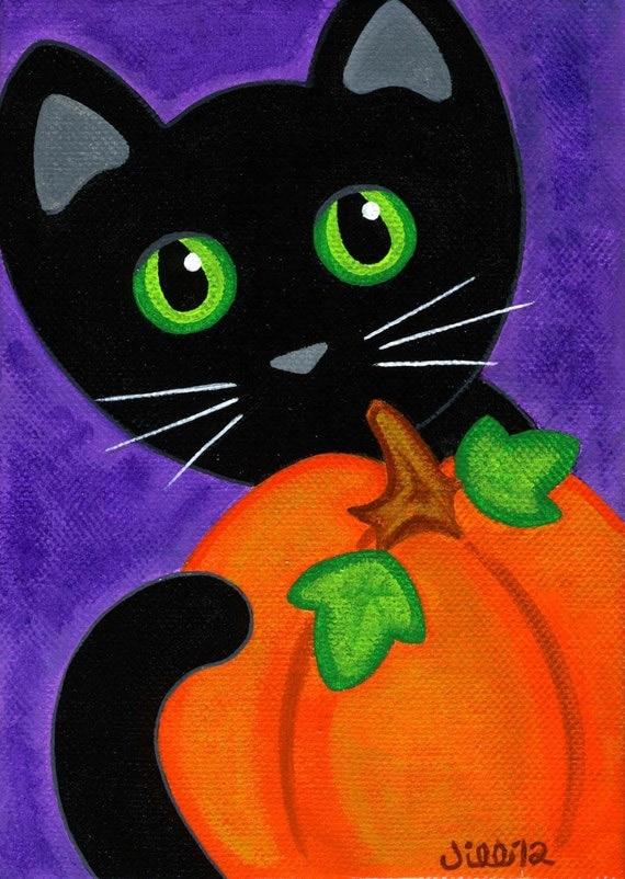Original Canvas Folk Art Painting Black Cat Amp Pumpkin Fall