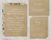 "wedding invitation rustic kraft paper floral pattern - ""Love Letter"""