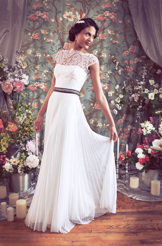 Items Similar To Old Hollywood Cap Sleeve High Bateau Neckline French Lace Pleated Tulle Wedding