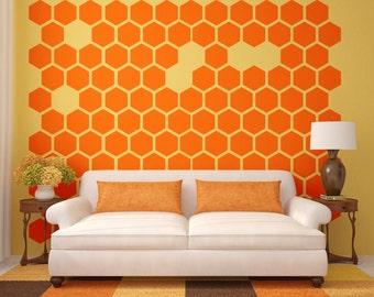 Hexagon Wall Decal, Honeycomb Wall Decal, Geometric Wall Decal, Modern Wall Decor, Retro Wall Decal, Bee Hive Wall Pattern, Modern Nursery