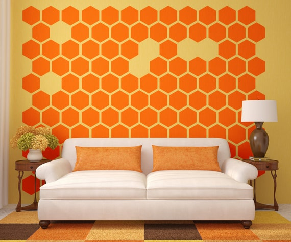 Geometric Wall Decal Honeycomb Wall Decal by WallStarGraphics