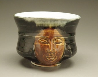 Tea Bowl Face Sculpture Chawan Drinking Vessel Yunomi Buddha Head Statue Cup