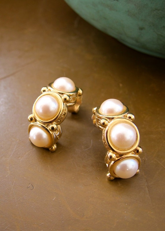 givenchy paris new york vintage earrings trio of pearls half