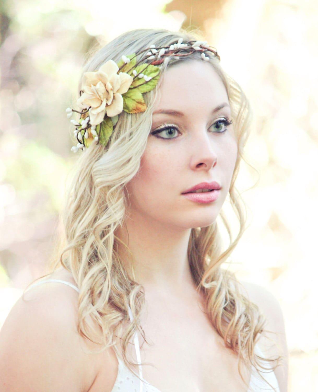 Bride Head Piece: Bridal Head Piece Pine Cone Rose Head Piece Woodland Wedding