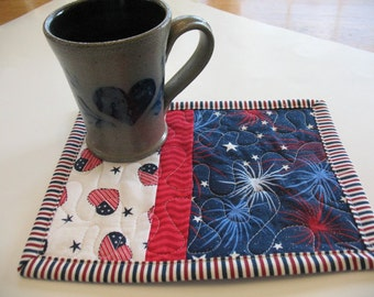 Quilted Set of 2 Red White and Blue Mug Rugs or Personal Placemats