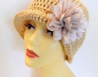 Cloche beige, tan, creme, handmad, crochet flower hat, accessories, fashionable, gift, women, teen