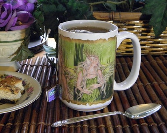 Titania Fairy Queen in Green 15 oz coffee mug