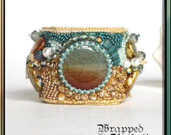 Bead Embroidered Beach Cuff / Tropical Honeymoon, Destination Wedding, Ocean, Shells, Jasper / STATEMENT JEWELRY / FreeShipUSA