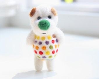 Summer colorful polka dot felt bear