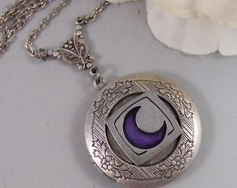 Blue Moon,Locket,Antique Locket,Silver Locket,Moon,Moon Locket,Crescent, Blue. Handmade jewelry by Valleygirldesigns.