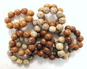 Wood Beaded Stretch Bracelets x 3