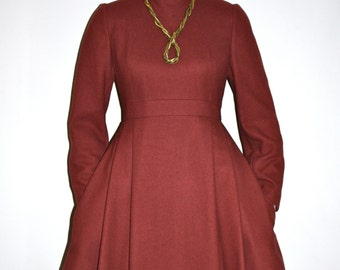 GALANOS Vintage Dress Rust Wool Mock Full Skirt Dress - AUTHENTIC -