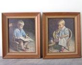 Vintage Nursery Prints Framed with Boy and Girl