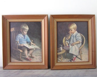 Vintage Nursery Prints Framed with Boy and Girl