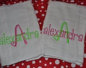 2 Two Monogrammed Embroidered Personaled Burp Cloths