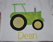 Monogrammed Embroidered Applique Tractor Shirt or Onesie with Name You design