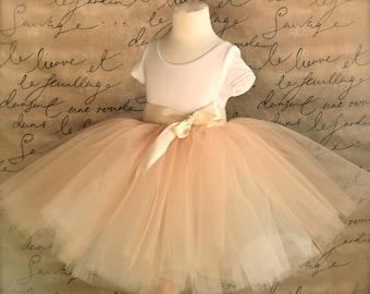 Classic champagne beige over ivory fluffy tutu. Tulle skirt for girls. Flower Girl tutu.