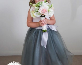 Girls long tutu skirt. Tulle skirt in deep grey. Flower Girl tutu