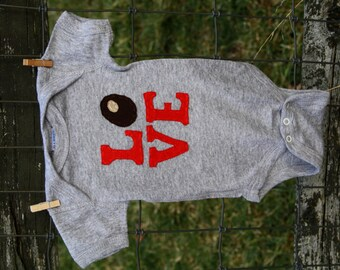 "Grey Buckeye/Ohio LOVE baby bodysuit, red Love letters with a buckeye as the ""O"""