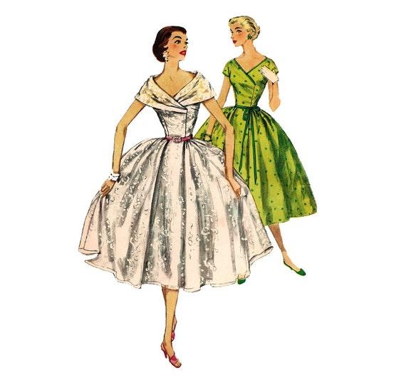 1950s Womens Dress - Simplicity 1115 Vintage Pattern - 32 Bust UNCUT FF