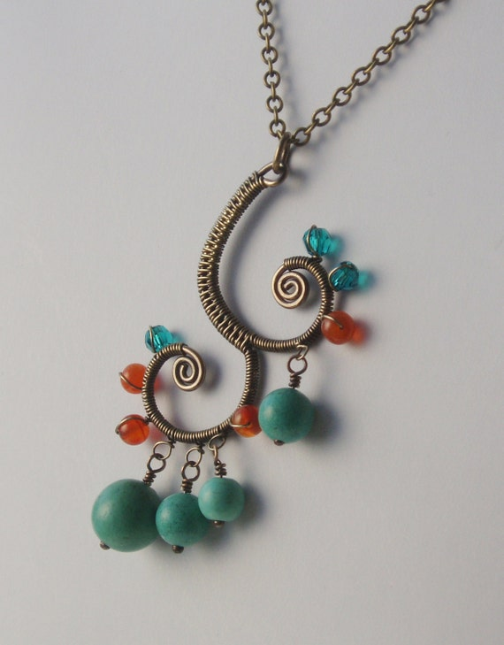 Wire-wrapped Indian style pendant - Bronze Age Jewelry