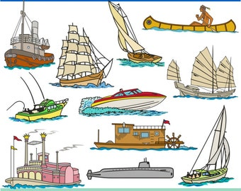 Digital Clipart Ships and Boats (22) PNG