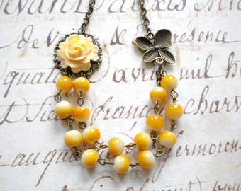 Flower Necklace Light Yellow Bridesmaid Necklace Bib Necklace Beadwork Necklace Butterfly Necklace Romantic Wedding Jewelry Bridesmaid Gift