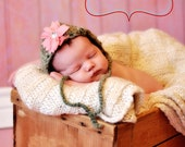 Cyber Sale Save 25% with code SPST4U Newborn  Baby Bonnet Your Choice Of Pink Or Blue- Green Is Sold Out