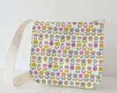 Little Girl's Satchel - Retro Flowers in Hot Pink, Yellow and Blue on Cream