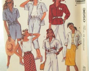 1980s McCalls 3650 Womens Shirt or Top Pants Shorts and Skirt Vintage Sewing Pattern Size 22