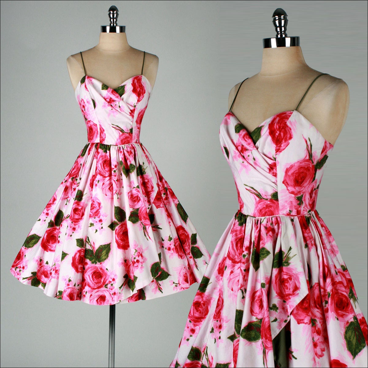 vintage 1950s dress TABAK CA pink floral print cotton