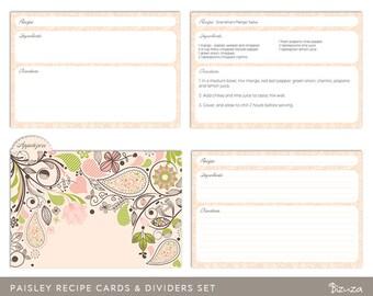 Printable Recipe Card Set, Editable PDF, Paisley, Instant Download