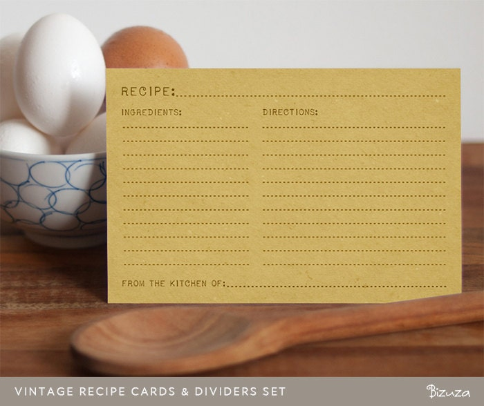 printable recipe cards and recipe box dividers  4x6