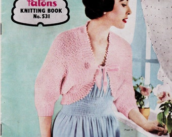 Patons 531 Womens Capes Bed Jackets Cardigans Bolero Bed Socks Vintage 1950s Knitting Patterns Book ORIGINAL patterns not PDF