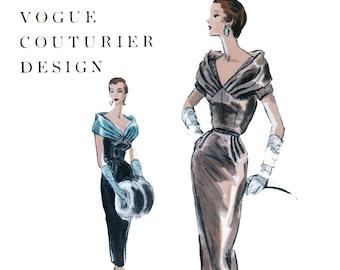 Vogue Couturier Design 810 Shoulder Draped Cocktail Dress & Blouse 1950s Vintage Sewing Pattern Size 14 Bust 32 UNUSED FF