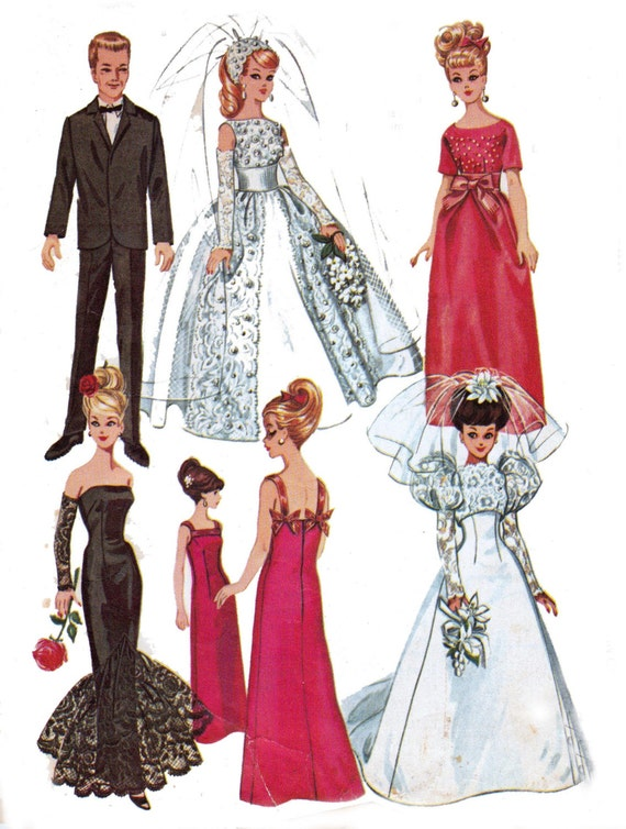 Vintage 1960s Sewing pattern Mod Barbie and Ken Doll Bridal and Ball Gown Patterns McCall's 6992