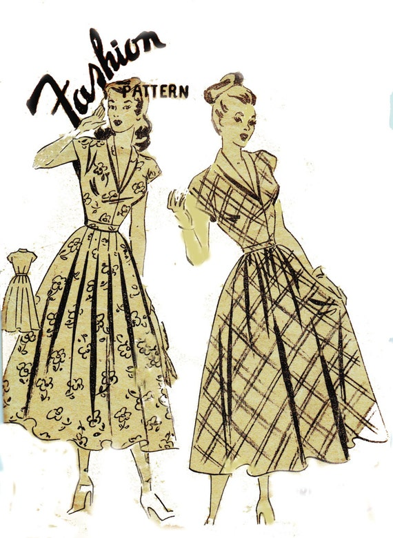 1940s dress pattern gathered or pleated skirt fashion brand