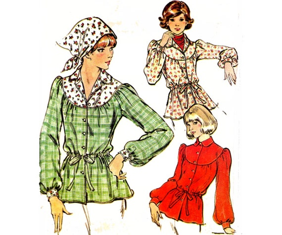 1970s Vintage Womens Peasant Blouse Pattern Butterick 4384 Size 12 Bust 34