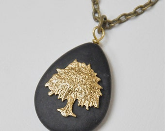Willow Tree Pendant Necklace, Black Stone Necklace, Tree of Life Necklace, Long Antique Brass Chain, Nature Inspired, Boho Bohemian Jewelry