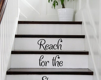 Reach for the Stars STAIRS stairway EXTRA STARS Vinyl Decal Vinyl Decal Home Decor Door Wall Lettering Words Quotes